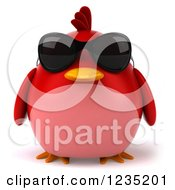 3d Chubby Red Bird Wearing Sunglasses