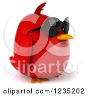 Clipart Of A 3d Chubby Red Bird Wearing Sunglasses And Facing Right Royalty Free Illustration
