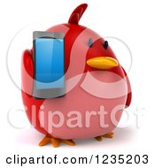 Clipart Of A 3d Chubby Red Bird Holding A Smart Phone Royalty Free Illustration
