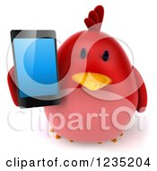 Clipart Of A 3d Chubby Red Bird Holding A Smart Phone 2 Royalty Free Illustration