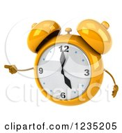 Clipart Of A 3d Yellow Alarm Clock Pointing Royalty Free Illustration by Julos