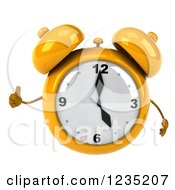 Clipart Of A 3d Yellow Alarm Clock Giving A Thumb Up Royalty Free Illustration by Julos