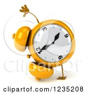 Clipart Of A 3d Yellow Alarm Clock Doing A Hand Stand Royalty Free Illustration by Julos
