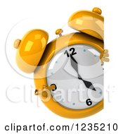 Clipart Of A 3d Yellow Alarm Clock Pointing Around A Sign Royalty Free Illustration by Julos