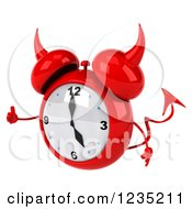 Clipart Of A 3d Devil Alarm Clock Giving A Thumb Up Royalty Free Illustration by Julos