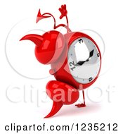 Clipart Of A 3d Devil Alarm Clock Doing A Hand Stand Royalty Free Illustration by Julos