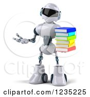 Clipart Of A 3d Shrugging White Male Techno Robot Holding A Stack Of Books Royalty Free Illustration