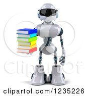 Clipart Of A 3d White Male Techno Robot Holding A Stack Of Books Royalty Free Illustration