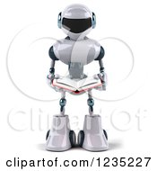 Clipart Of A 3d White Male Techno Robot Reading A Book Royalty Free Illustration