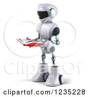 Clipart Of A 3d White Male Techno Robot Reading A Book 2 Royalty Free Illustration