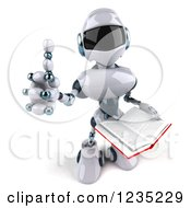 Clipart Of A 3d White Male Techno Robot Holding A Thumb Up And A Book Royalty Free Illustration