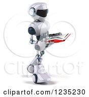 Clipart Of A 3d White Male Techno Robot Walking And Reading A Book Royalty Free Illustration