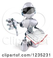 Clipart Of A 3d White Male Techno Robot Holding A Thumb Down And A Book Royalty Free Illustration