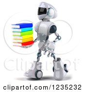 Clipart Of A 3d White Male Techno Robot Walking A Stack Of Books Royalty Free Illustration