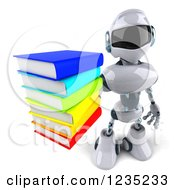 3d White Male Techno Robot Holding Up A Stack Of Books