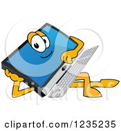 Clipart Of A Resting PC Computer Mascot Royalty Free Vector Illustration