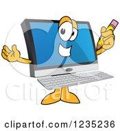 Clipart Of A PC Computer Mascot Holding A Pencil Royalty Free Vector Illustration by Toons4Biz