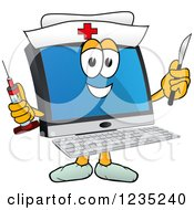 Nurse Pc Computer Mascot Holding A Syringe And Scalpel
