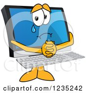 Clipart Of A Begging And Crying PC Computer Mascot Royalty Free Vector Illustration
