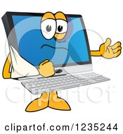 Clipart Of A  Beat Up Pc Computer Mascot With His Arm In A Sling Royalty Free Vector Illustration