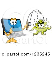 Clipart Of A PC Computer Mascot Catching A Virus Royalty Free Vector Illustration