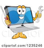 Happy Pc Computer Mascot Holding Tools