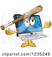 Clipart Of A Baseball Bat Bashing A PC Computer Mascot Royalty Free Vector Illustration