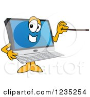 Clipart Of A PC Computer Mascot Using A Pointer Stick Royalty Free Vector Illustration by Toons4Biz