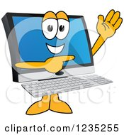 Pc Computer Mascot Waving And Pointing