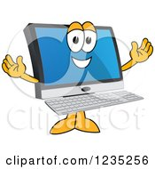Clipart Of A Welcoming PC Computer Mascot Royalty Free Vector Illustration
