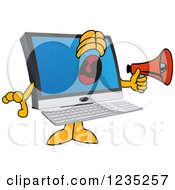 Pc Computer Mascot Screaming Into A Megaphone