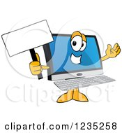 Pc Computer Mascot Holding Up A Blank Sign
