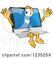 Clipart Of A Jumping PC Computer Mascot Royalty Free Vector Illustration by Toons4Biz