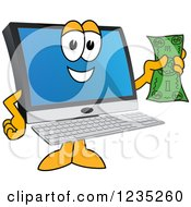 Pc Computer Mascot Holding Cash Money