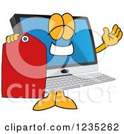 Clipart Of A PC Computer Mascot Holding A Price Tag Royalty Free Vector Illustration