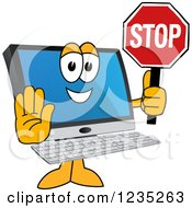 Pc Computer Mascot Holding A Stop Sign