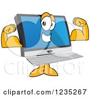 Clipart Of A Flexing Strong PC Computer Mascot Royalty Free Vector Illustration by Toons4Biz
