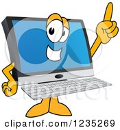 Clipart Of A PC Computer Mascot Pointing Up Royalty Free Vector Illustration