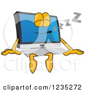 Clipart Of A Sleeping PC Computer Mascot Royalty Free Vector Illustration by Toons4Biz