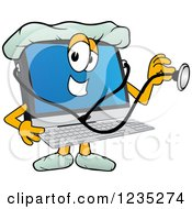 Doctor Pc Computer Mascot Using A Stethoscope