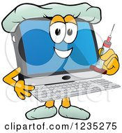 Doctor Pc Computer Mascot Holding A Vaccine Syringe