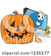 Clipart Of A PC Computer Mascot And A Halloween Pumpkin Royalty Free Vector Illustration by Toons4Biz