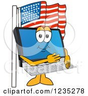 Clipart Of A PC Computer Mascot Pledging Allegiance To The American Flag Royalty Free Vector Illustration by Toons4Biz