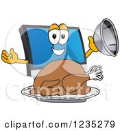 Clipart Of A PC Computer Mascot Serving A Thanksgiving Turkey Royalty Free Vector Illustration by Toons4Biz