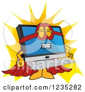 Clipart Of A Super Hero PC Computer Mascot Royalty Free Vector Illustration by Toons4Biz