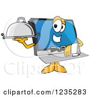 Clipart Of A Waiter PC Computer Mascot Royalty Free Vector Illustration by Toons4Biz