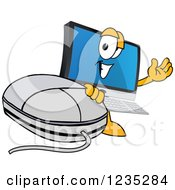 Pc Computer Mascot Waving By A Mouse