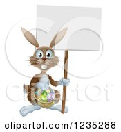 Brown Bunny Holding A Sign And Easter Basket