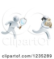 Clipart Of A 3d Silver Detective Chasing A Thief With A Magnifying Glass Royalty Free Vector Illustration by AtStockIllustration