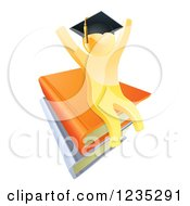 3d Gold Person Graduate Cheering And Sitting On A Stack Of Books
